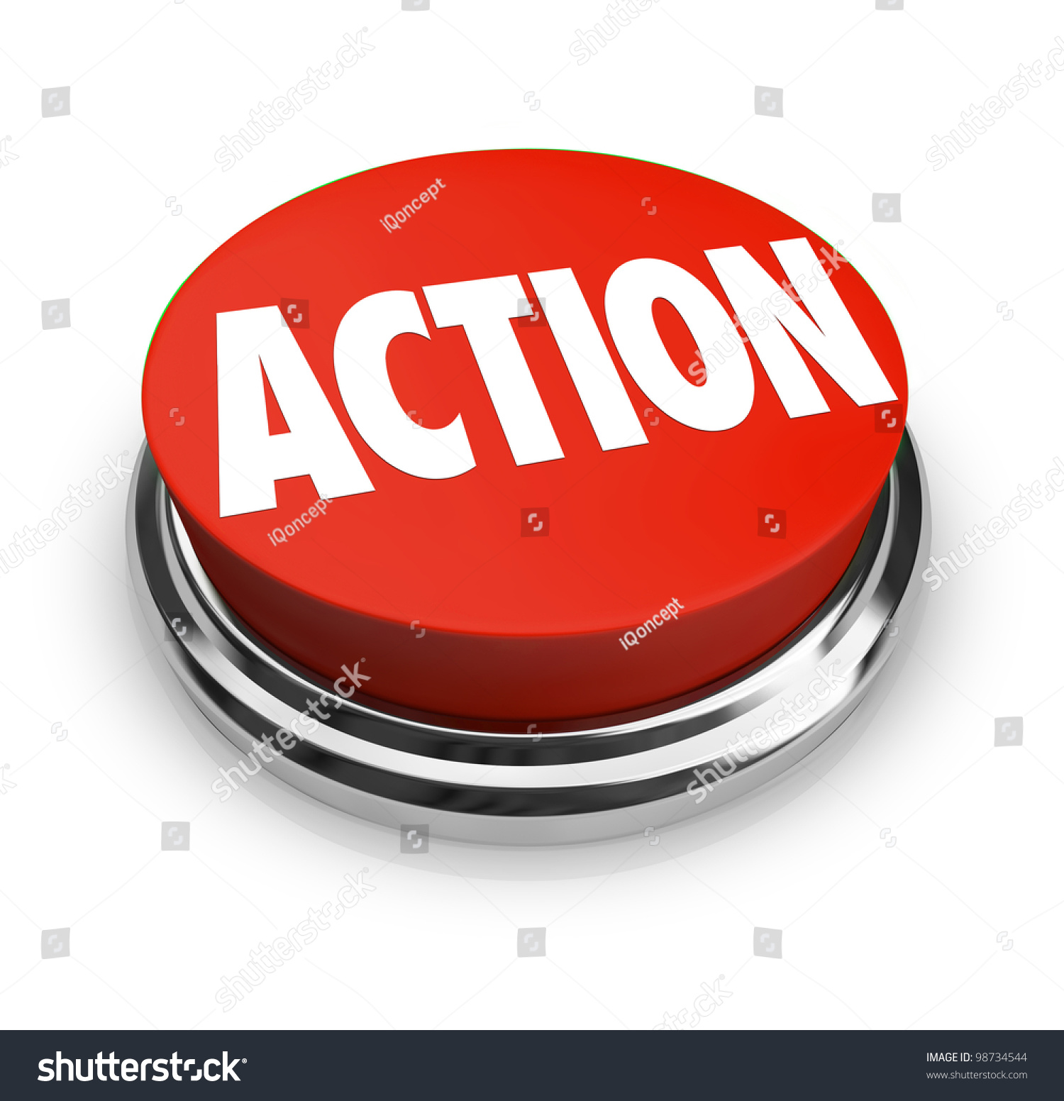 red button word action on it stock illustration 98734544