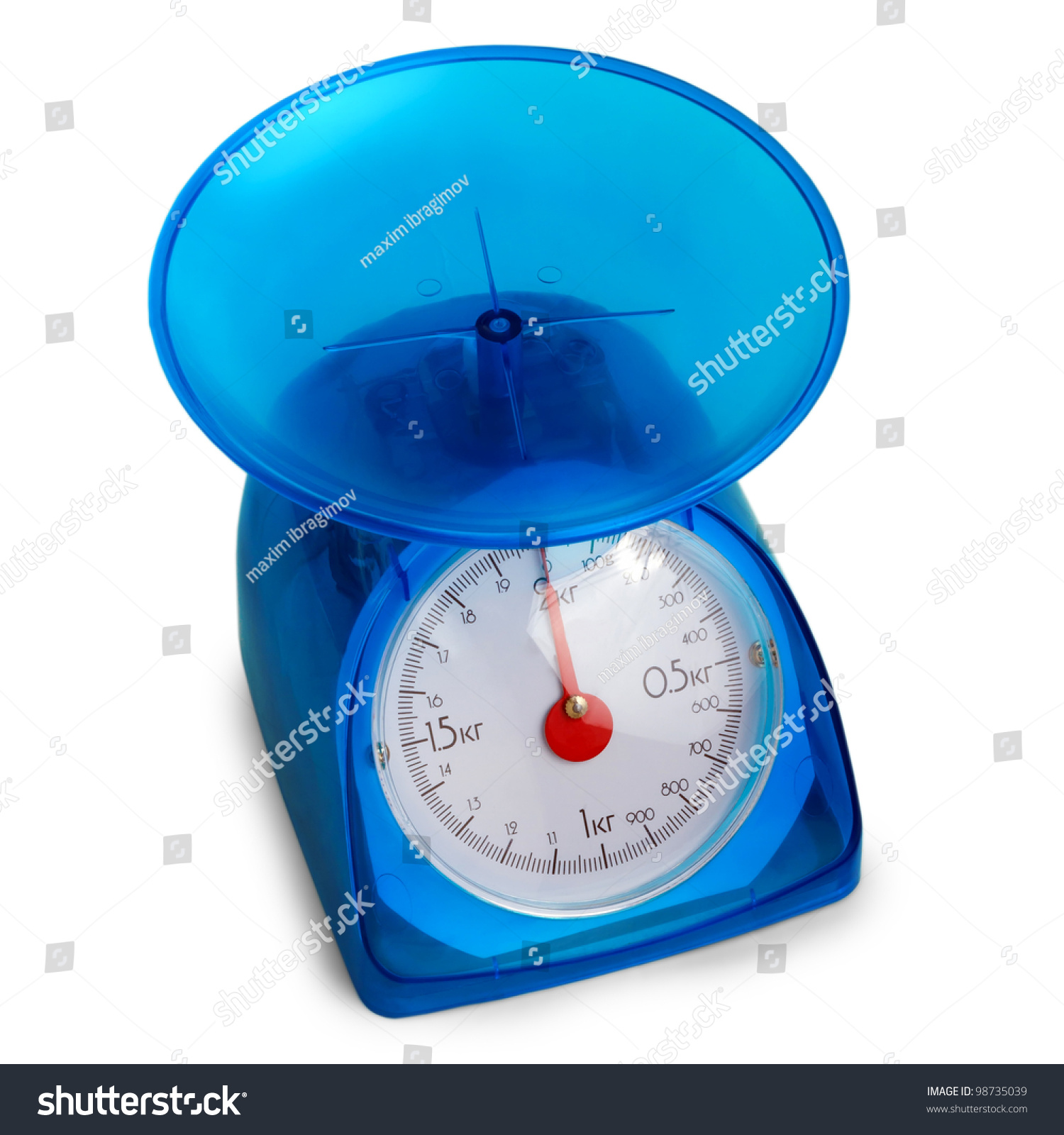 Blue Kitchen Scales: Blue Plastic Kitchen Scales Isolated Stock Photo 98735039