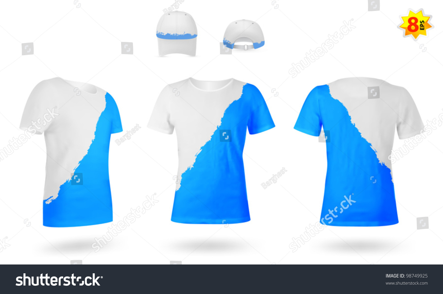 design template twocolor tshirts stock vector 98749925