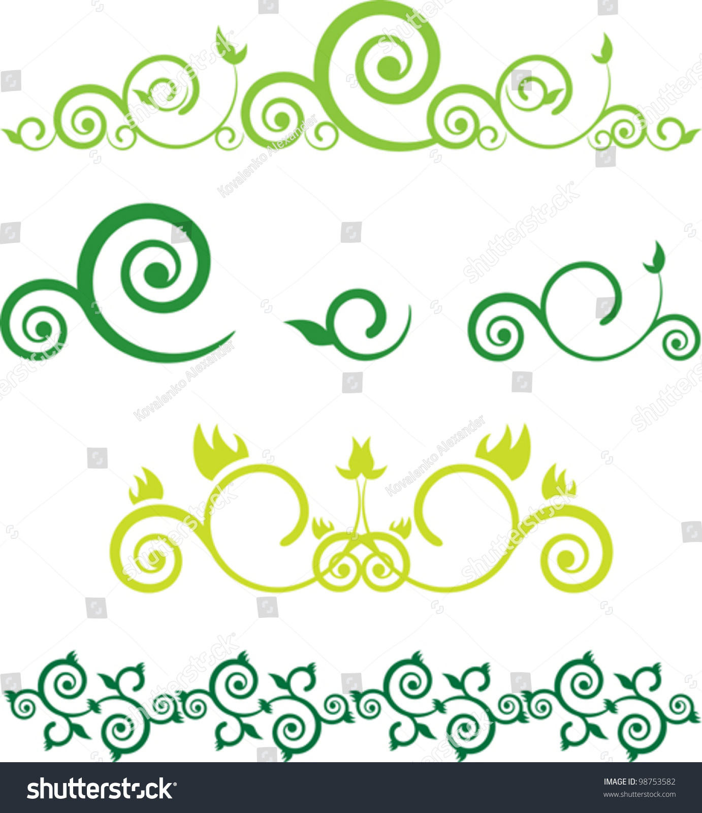 Green floral border swirls stock vector 98753582 shutterstock green floral border with swirls altavistaventures Images