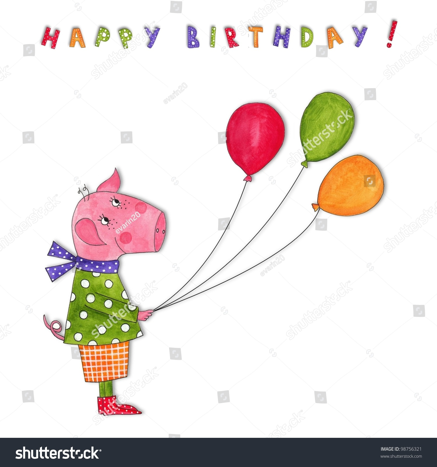 Happy Birthday Greeting Card Stock Illustration 98756321 Shutterstock