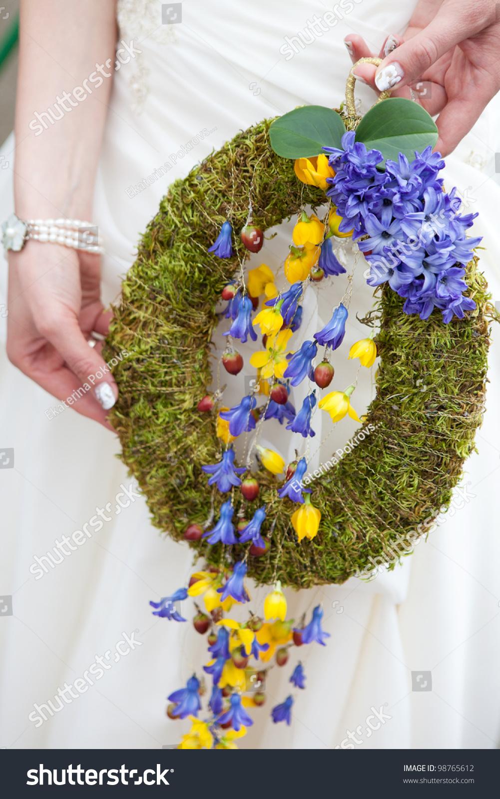 Cascade Wedding Bouquet Blue Yellow Flowers Stock Photo Download
