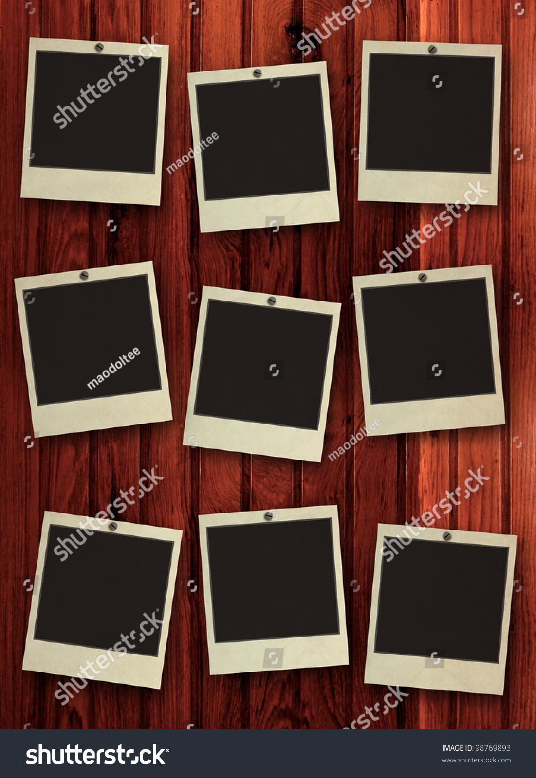 Blank Photo Frame On Wooden Background Stock Illustration 98769893
