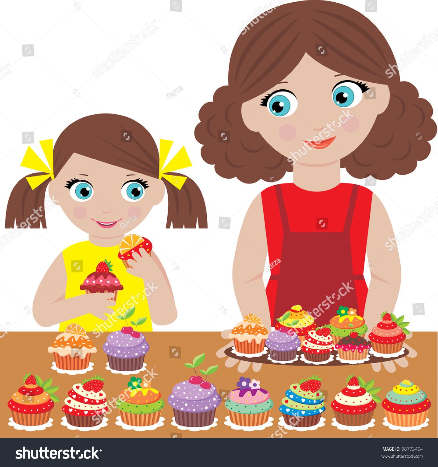 Mother Daughter Bake Cupcakes Vector Stock Vector 98773454