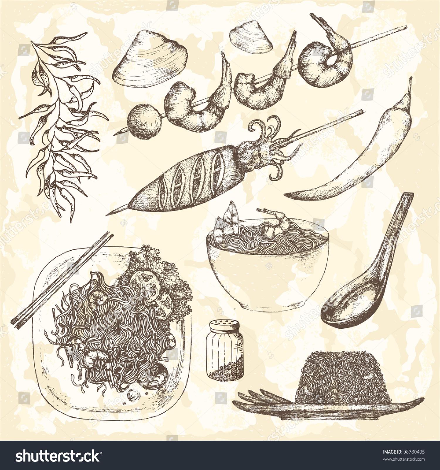 Handdrawn Asia Kitchen Food Set Stock Vector Shutterstock