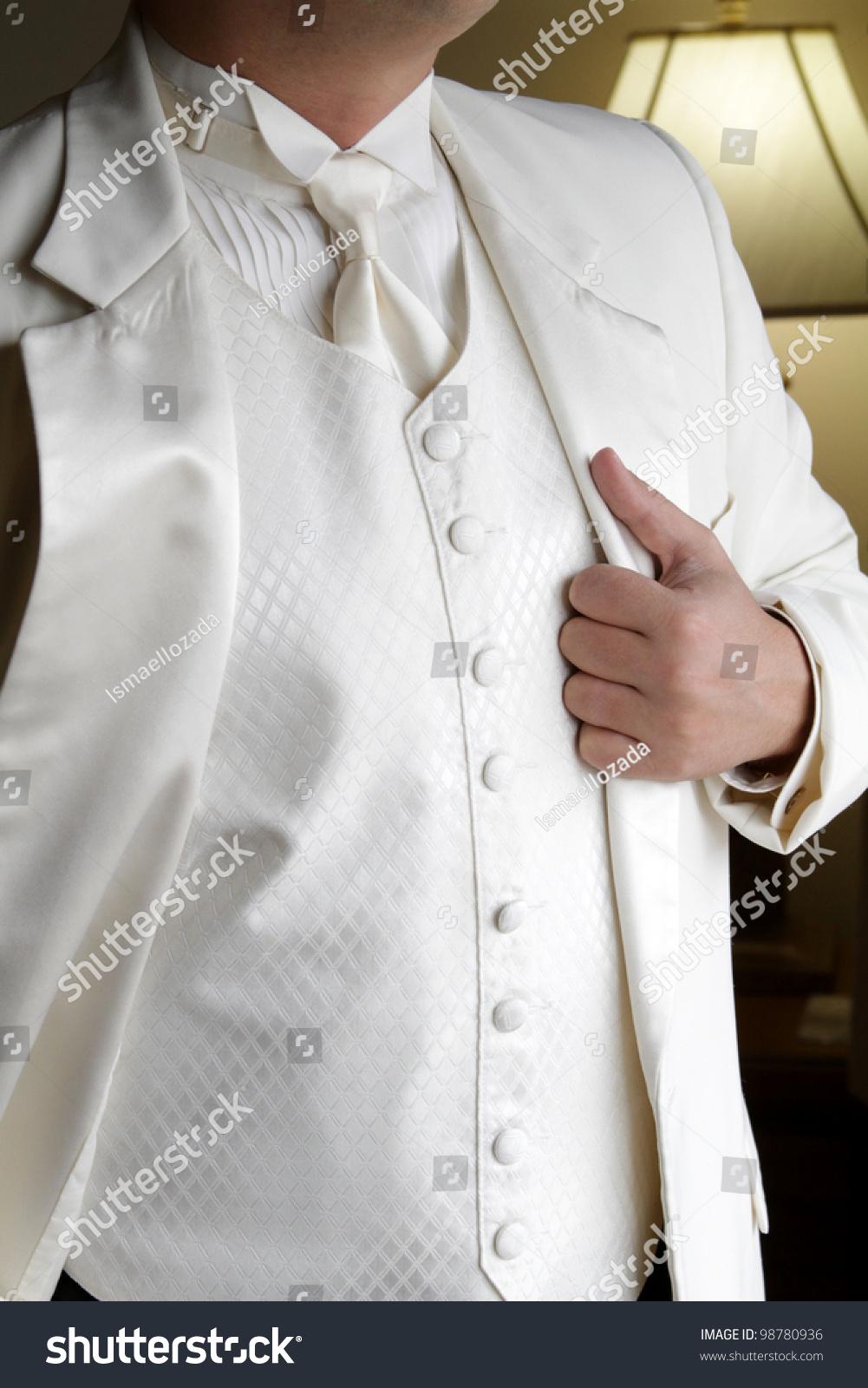 Tuxedo Standing Groom White Tuxedo Image Stock Photo 98780936 ...