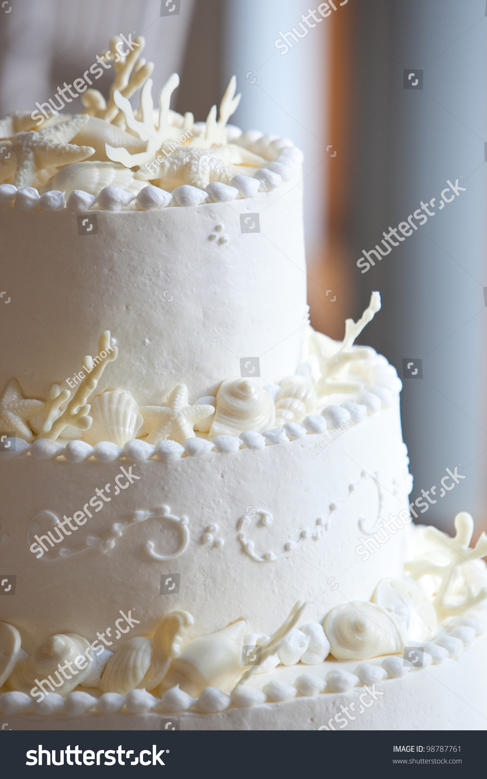 White Ocean Themed Wedding Cake Miniature Stock Photo (Royalty Free ...