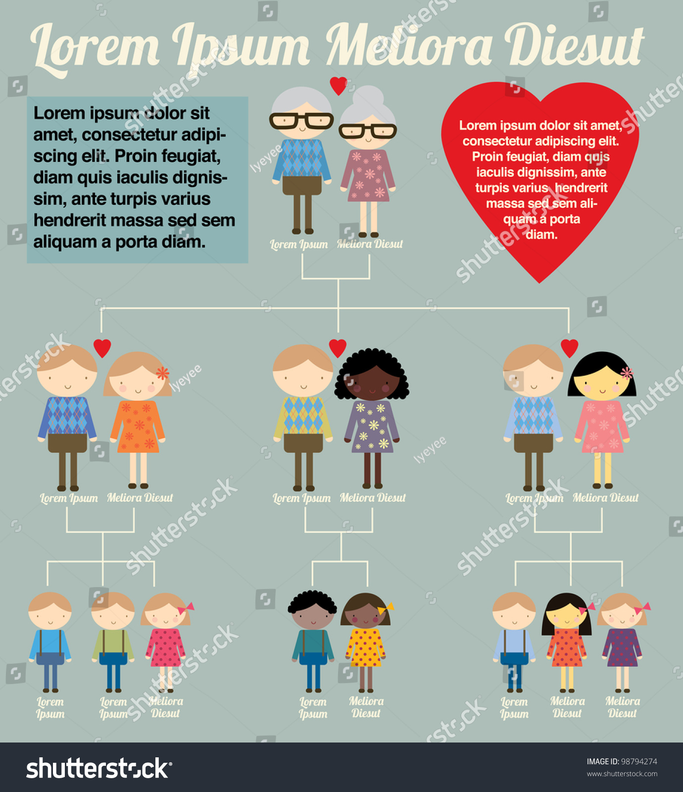 Family Tree Template Info Graphics Vectorillustration