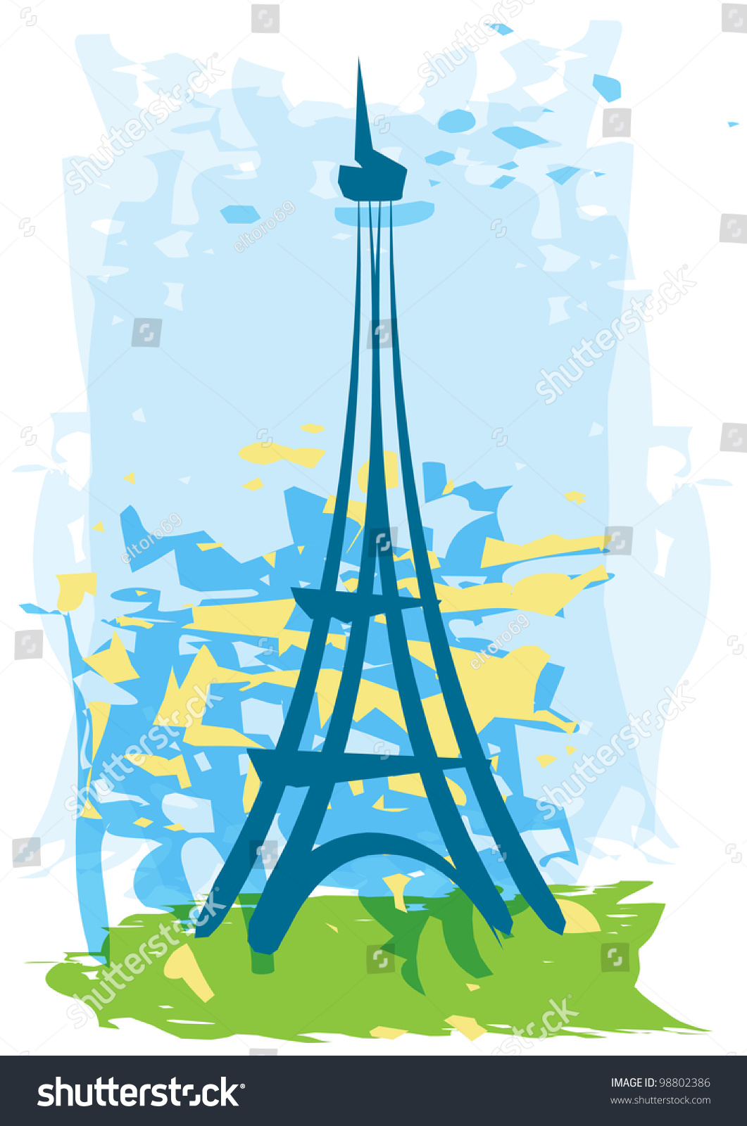 Hand-Drawn Abstract Eiffel Tower With Yellow Background ...