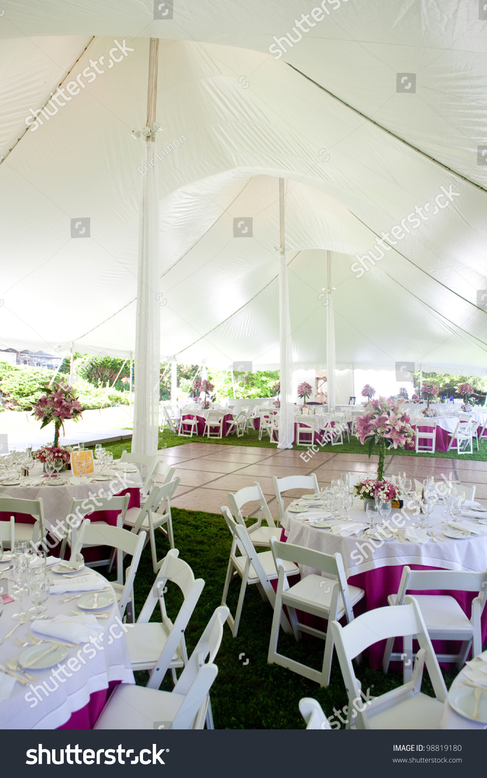 Inside a large wedding tent set up for an outdoor reception & Inside Large Wedding Tent Set Outdoor Stock Photo 98819180 ...