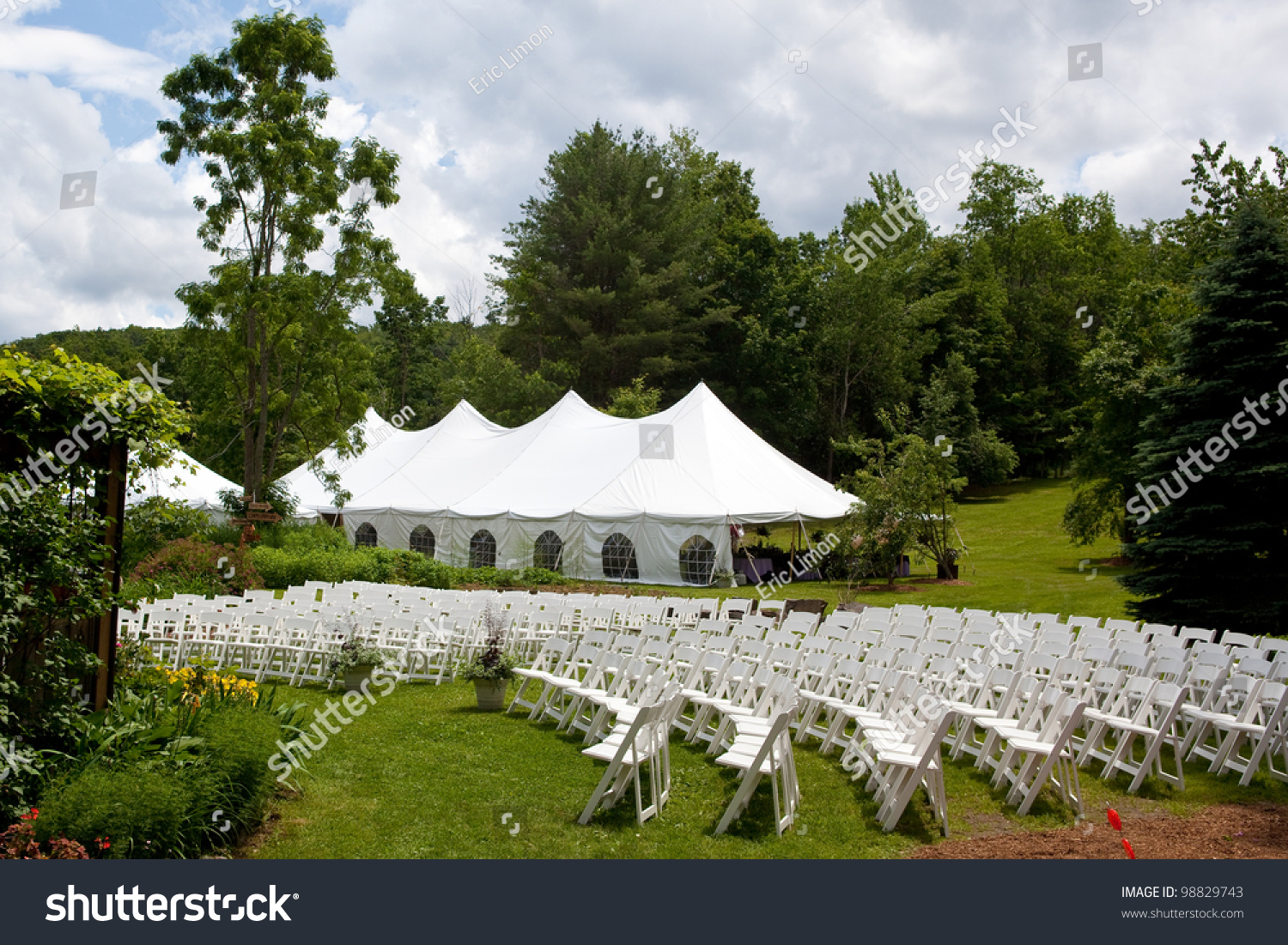 Wood Chairs Outdoor Ceremony: Wedding Tent Set Up For An Outdoor Wedding Or Other Event