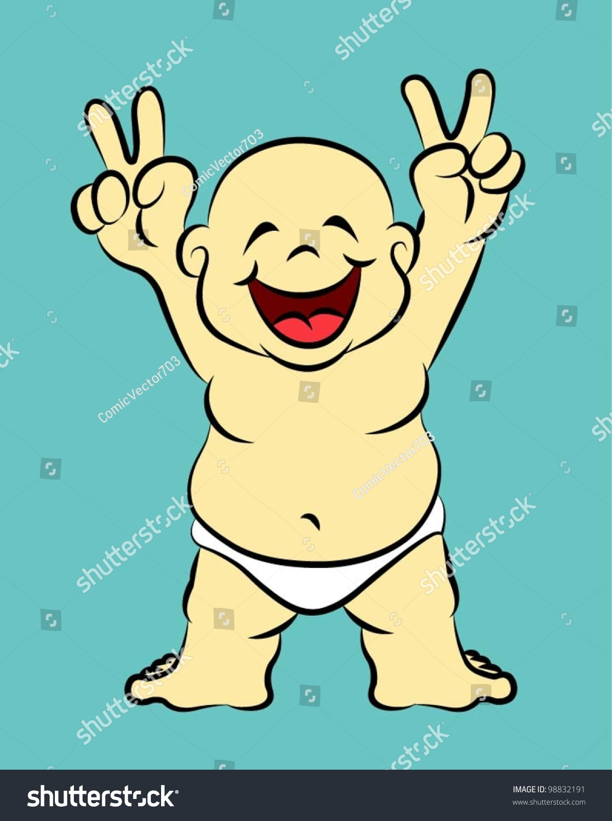 Happy baby 02 funny cartoon character children cover book design