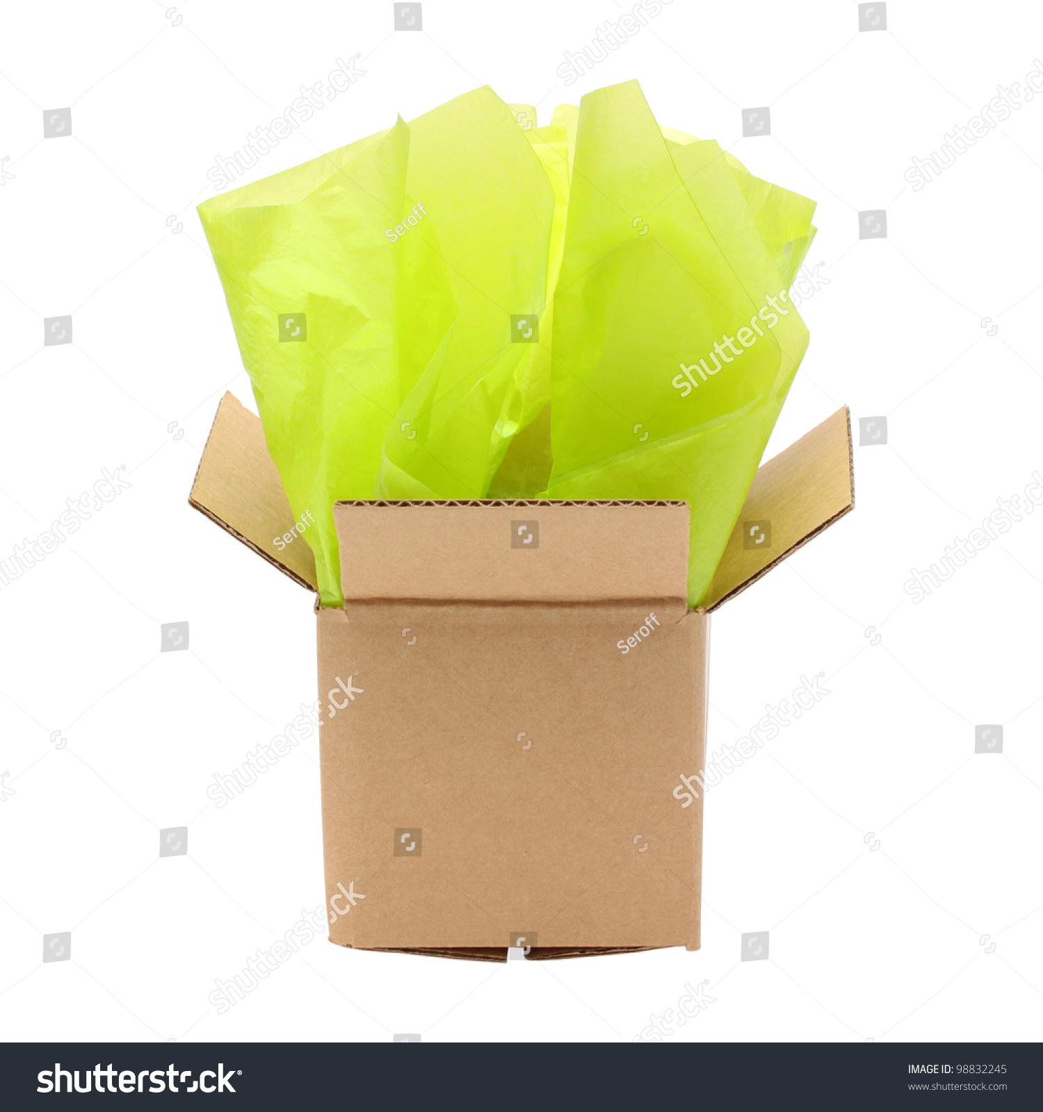 Corrugated Cardboard Box Tissue Paper Isolated Stock Photo