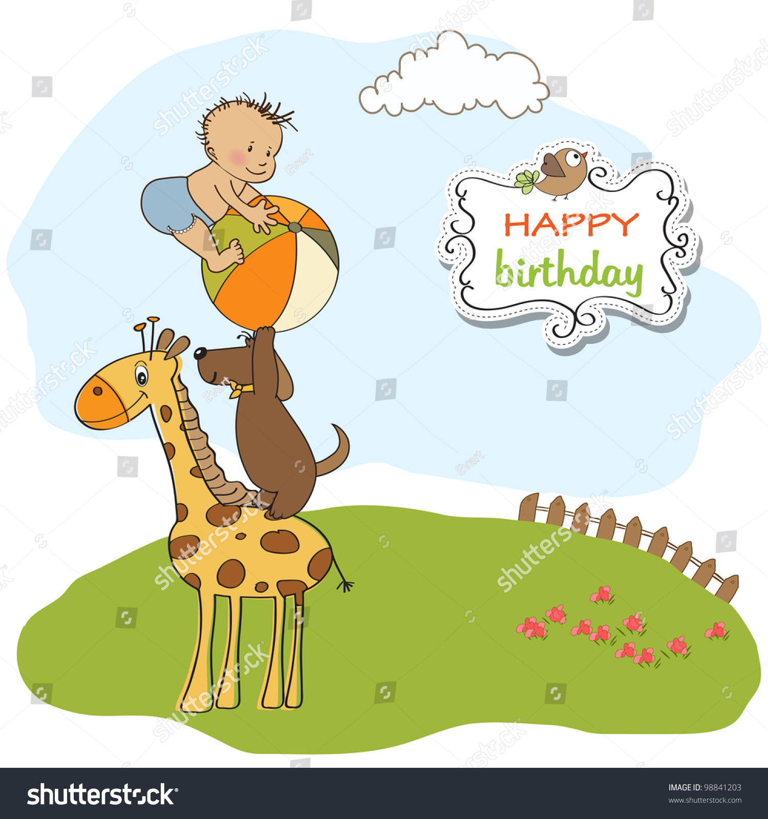 Funny Cartoon Birthday Greeting Card Stock Vector