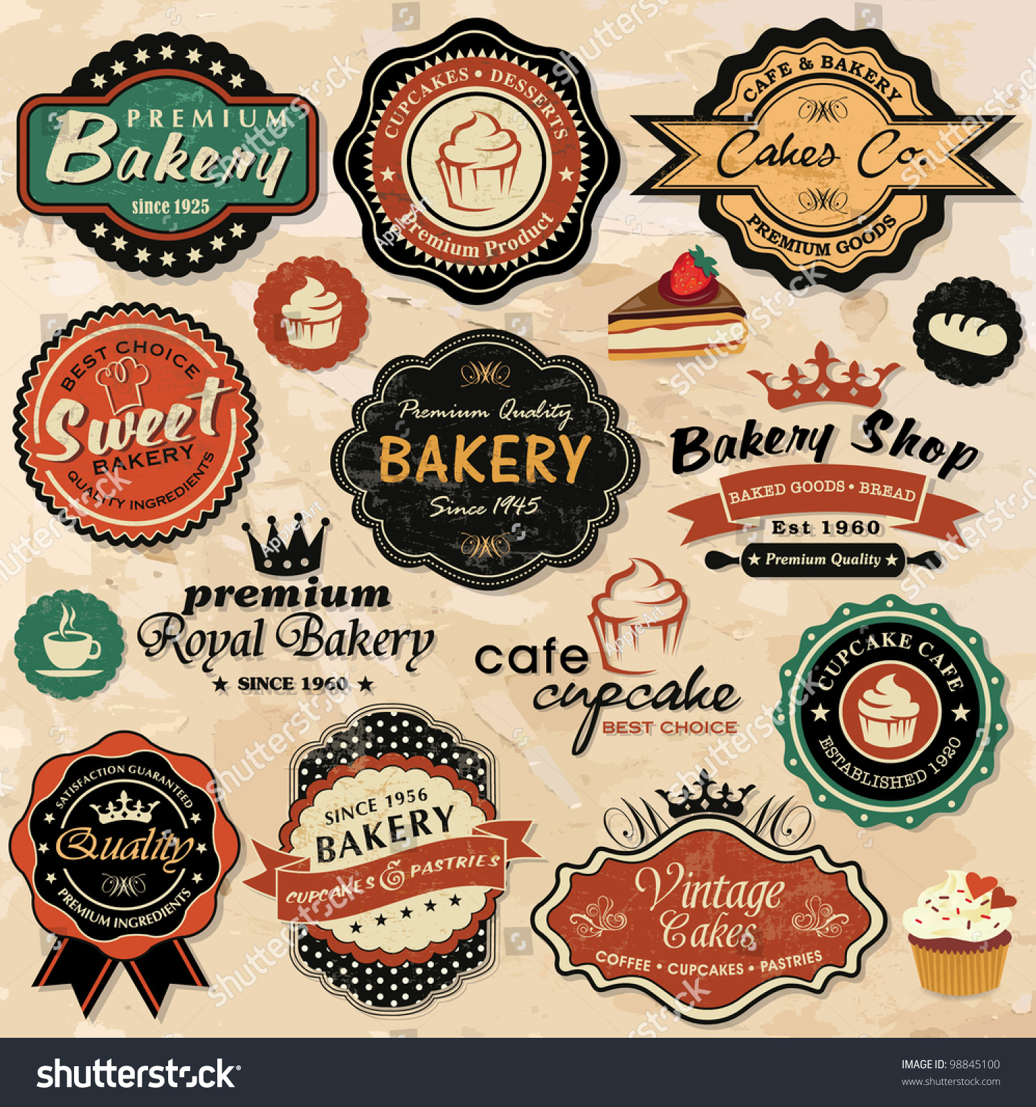 Collection Vintage Retro Grunge Food Labels Stock Vector