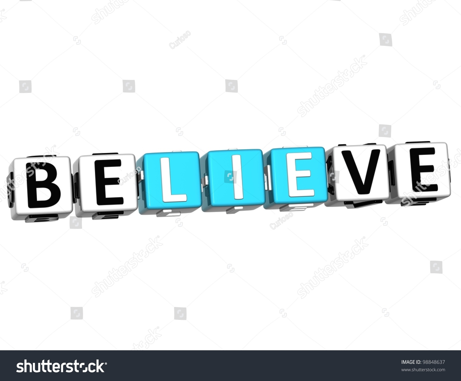 3d Believe In Yourself Text On White Background Stock ...