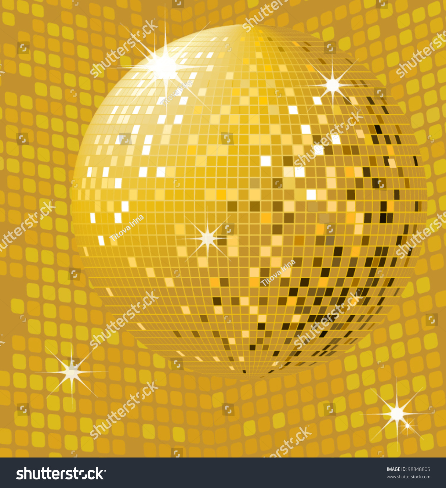 Shiny Gold Disco Ball Party Background Stock Vector ...