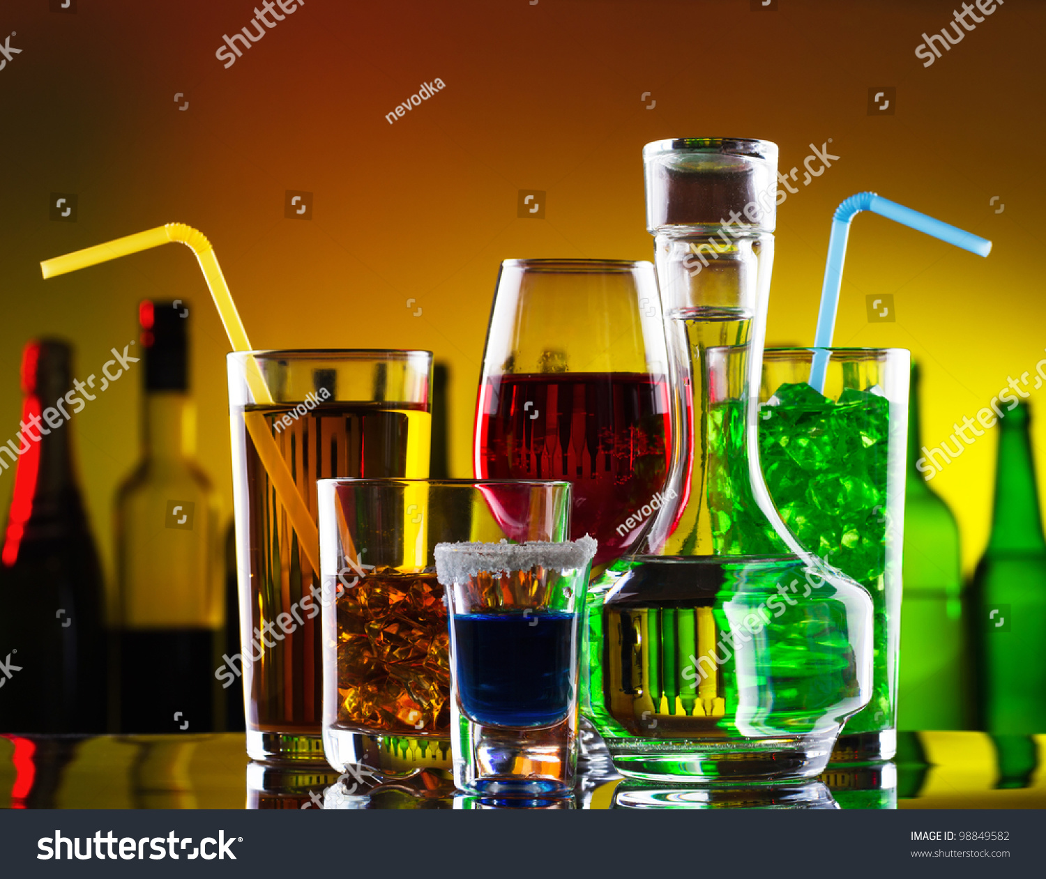 Different Alcohol Drinks Cocktails On Bar Stock Photo