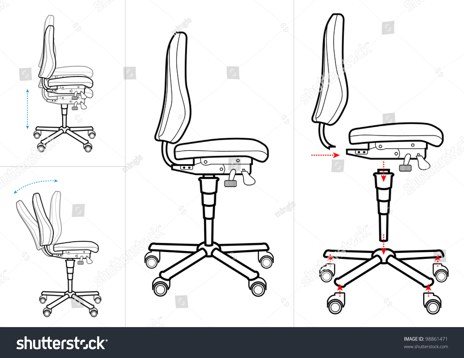 Office Chair Instructions Drawing
