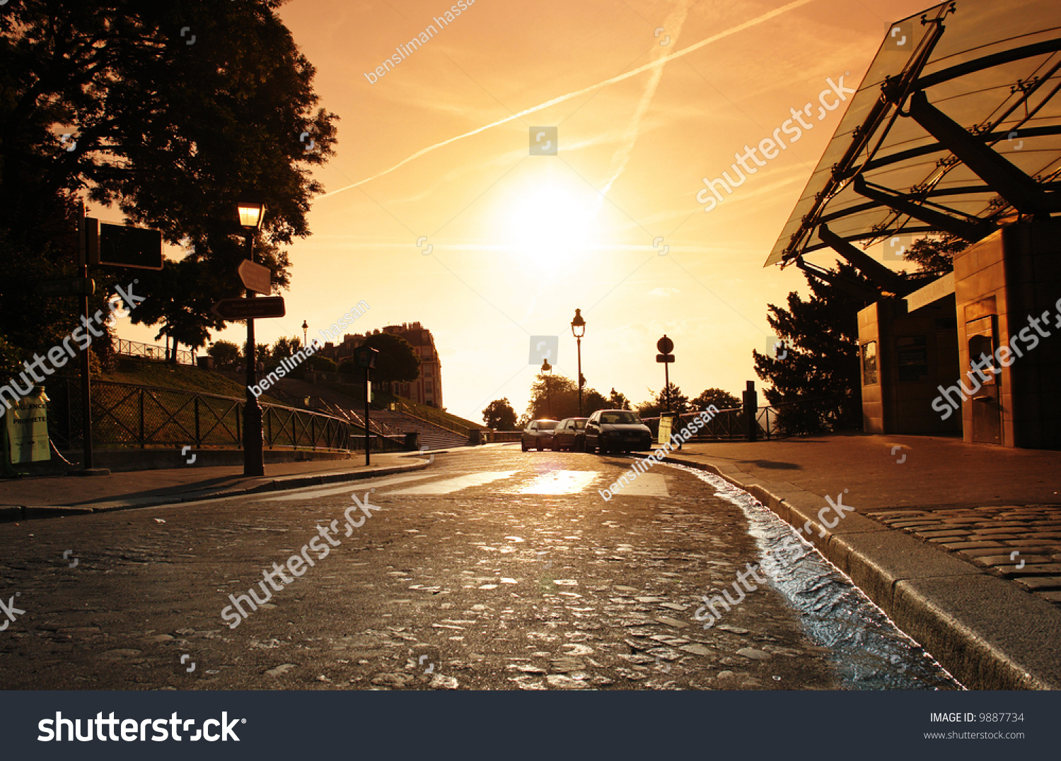 Stone Pavement In Paris : Paris sunset on paving stone from butte montmartre stock