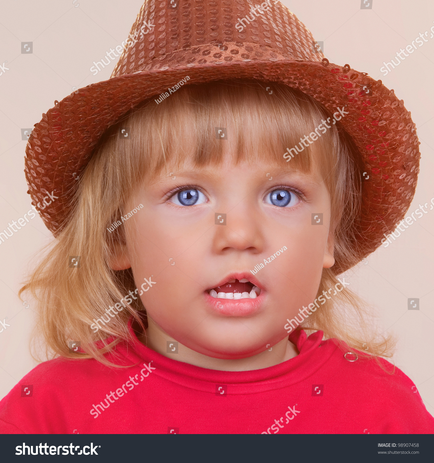 small baby girl piercing blue eyes stock photo (edit now) 98907458
