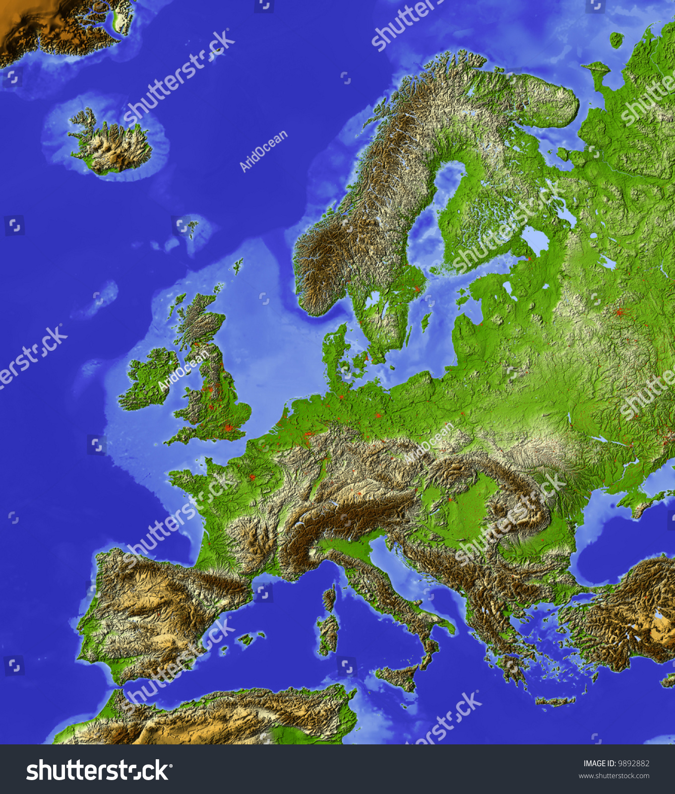 Europe Shaded Relief Map Shaded Sea Stock Illustration - Europe terrain map