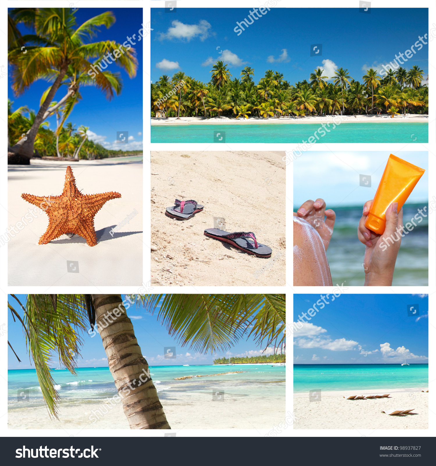 Tropical Nature Collage With Caribbean Landscape Stock