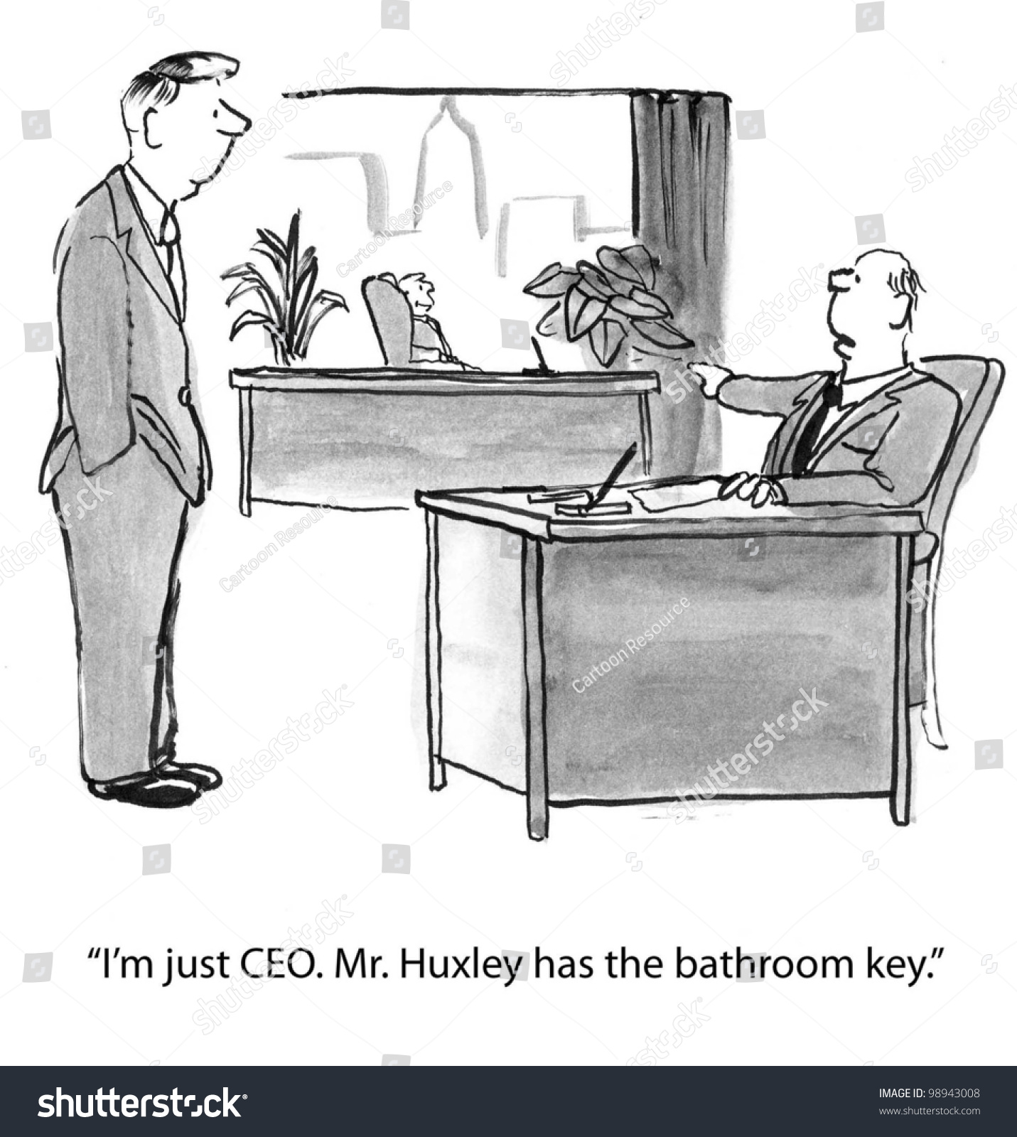 Just Ceo He Has Bathroom Key Stock Illustration