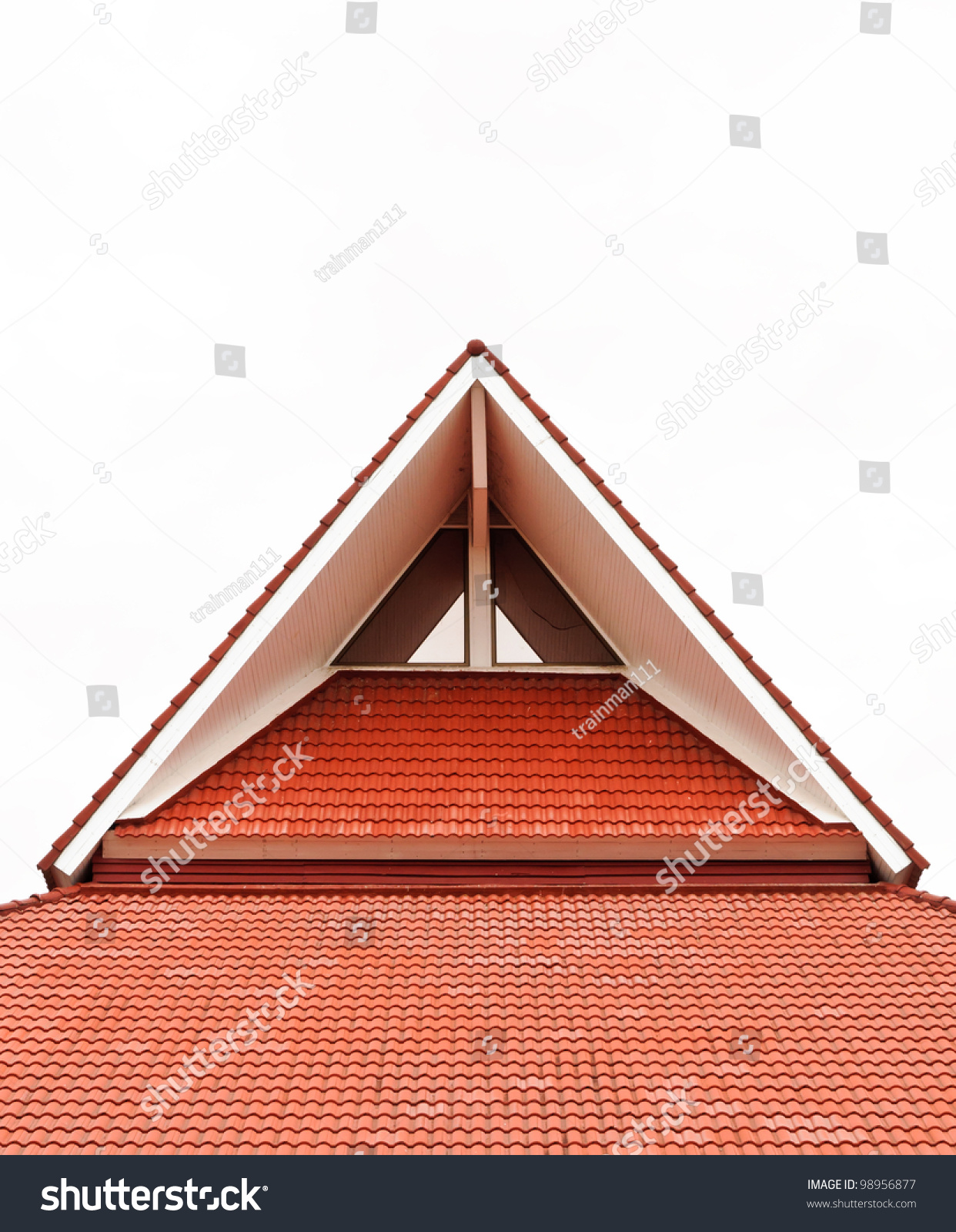 Red Gable Roof Of The Modern House Stock Photo 98956877