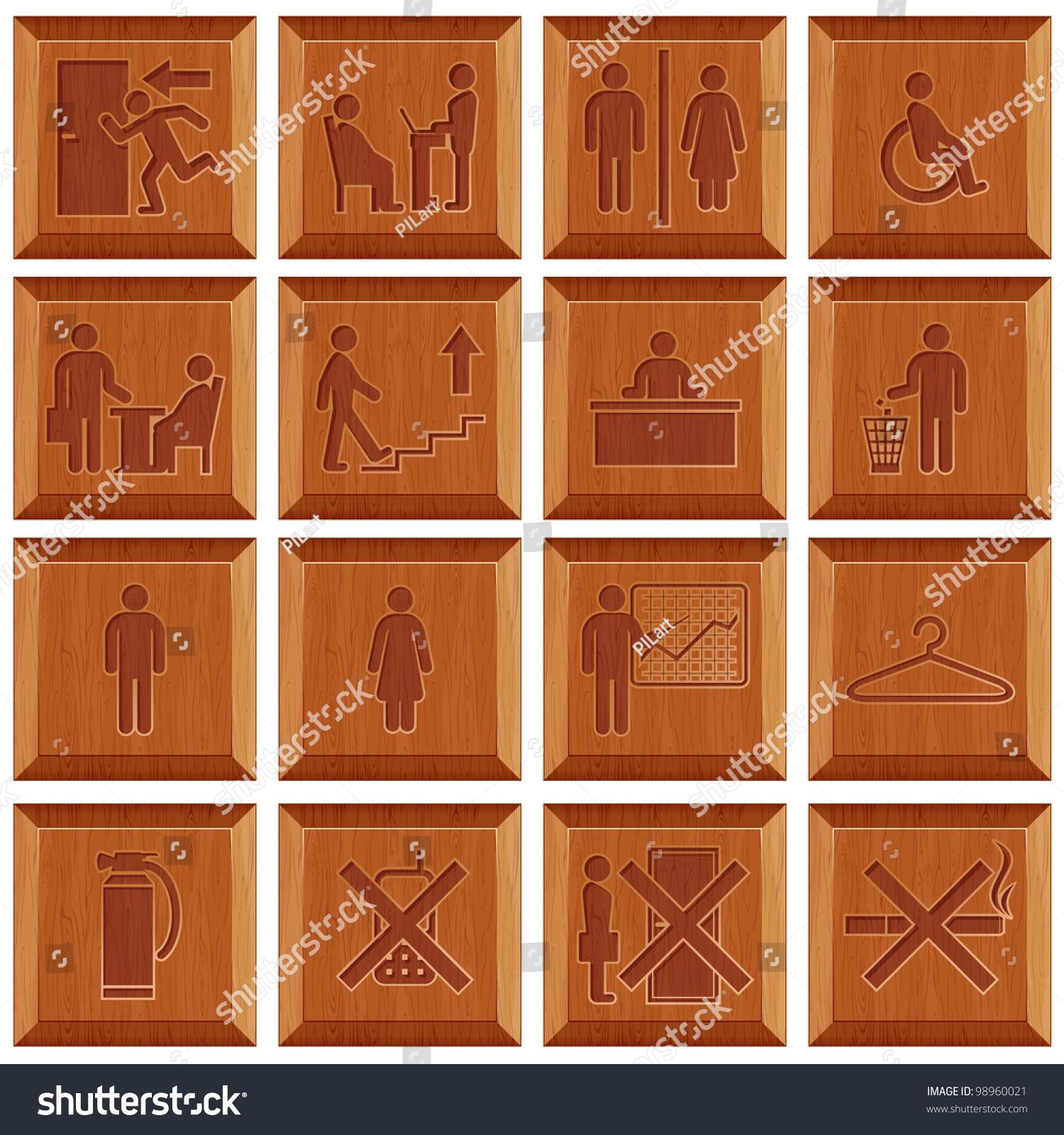 Wooden Door Signs Workplaces Stock Vector 98960021 - Shutterstock