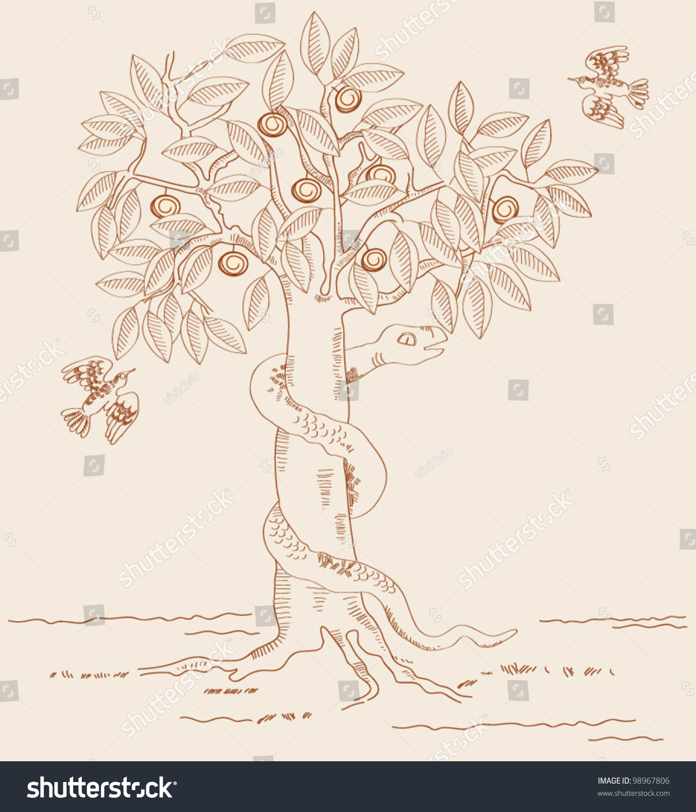 The serpent in garden of eden the tree of knowledge for Garden of eden xml design pattern