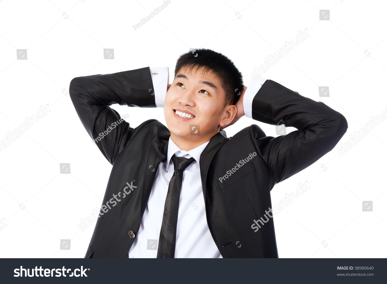 Technology Management Image: Asian Relaxed Young Business Man Happy Stock Photo