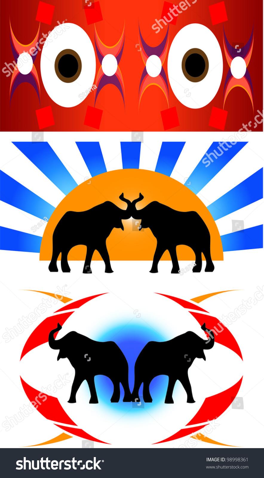 Elephant Print Stock Vector Illustration 98998361 ...