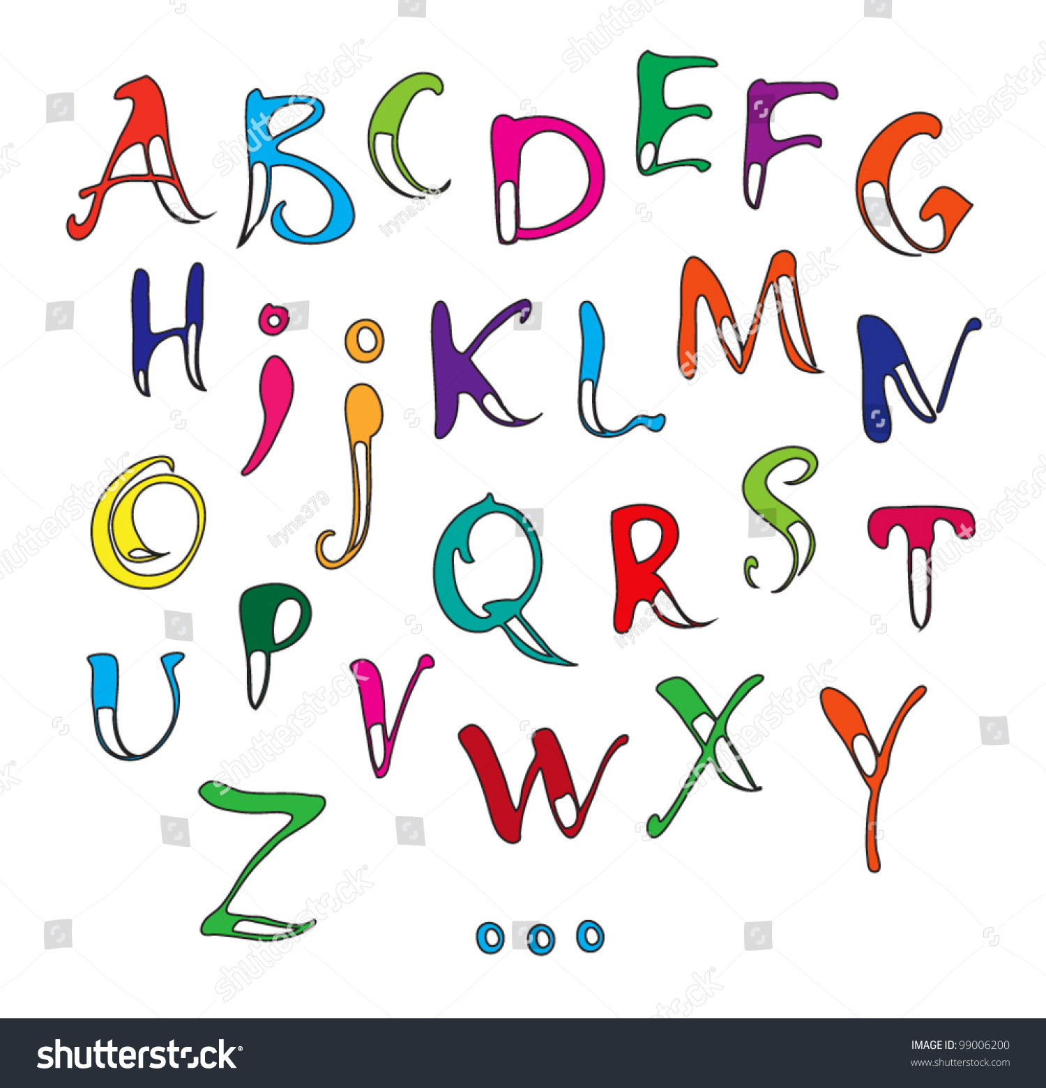 Vector calligraphy color alphabet on white stock