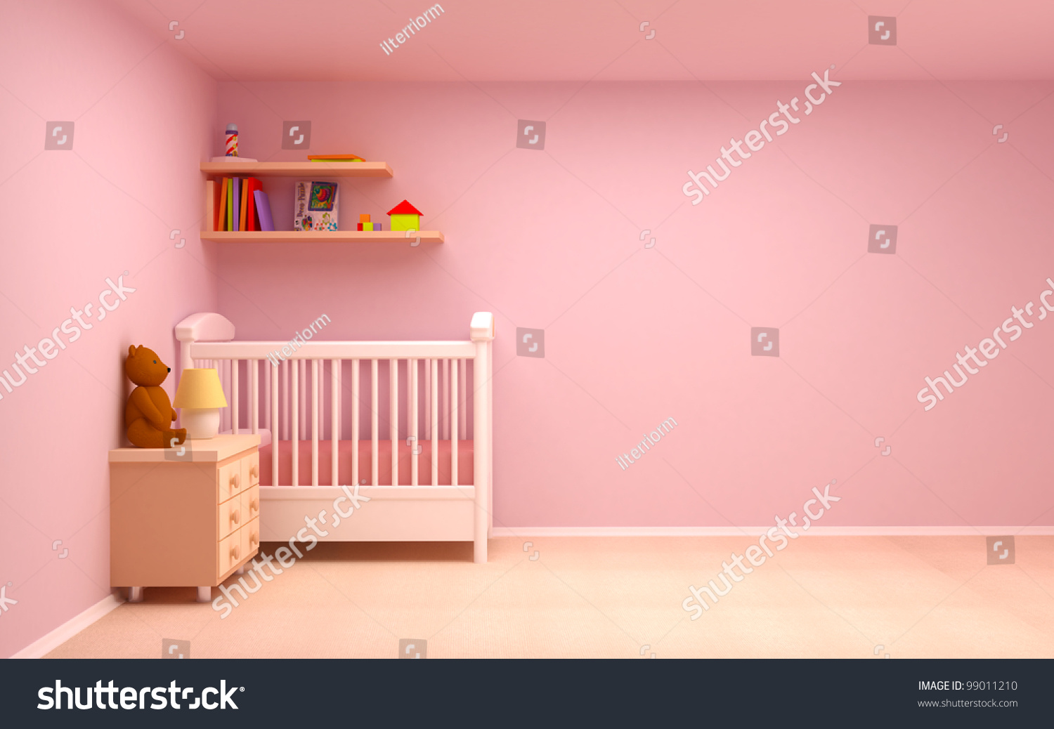 Babys Bedroom Commode Bear Pastel Colors Stock