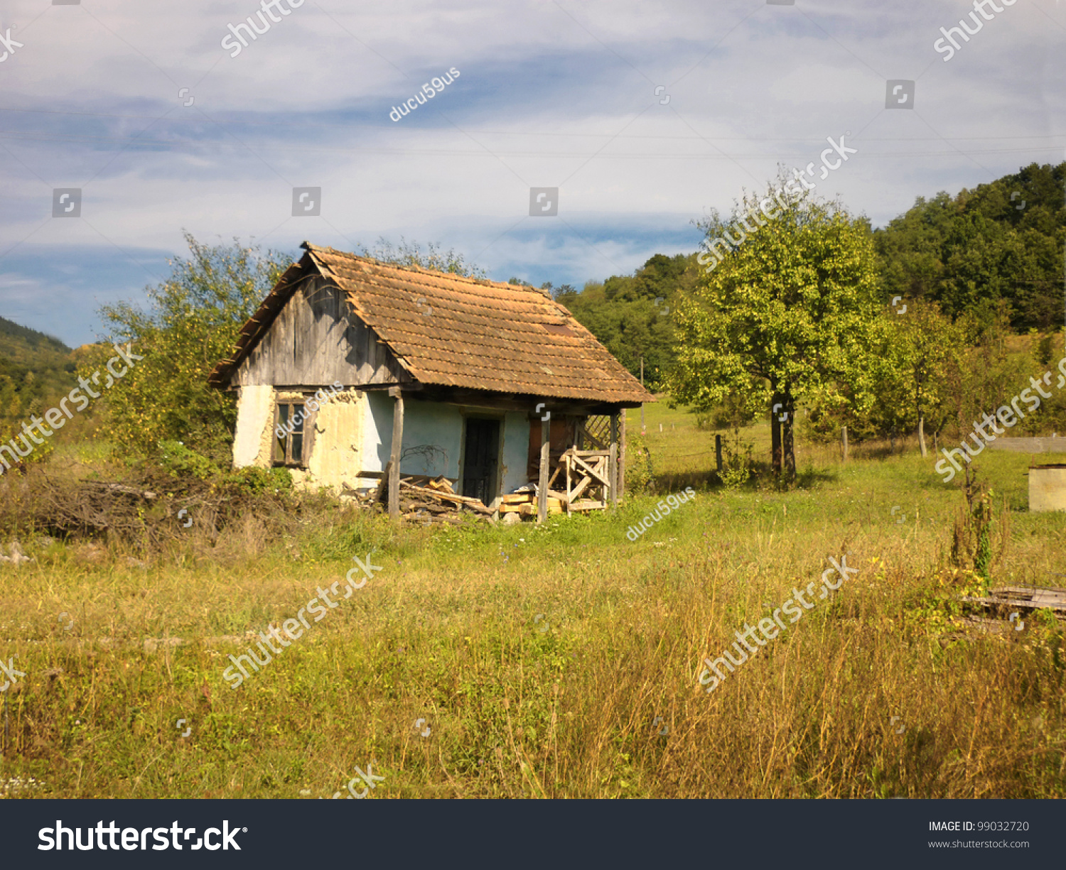 Abandoned old house on autumn landscape stock photo for Classic house landscape