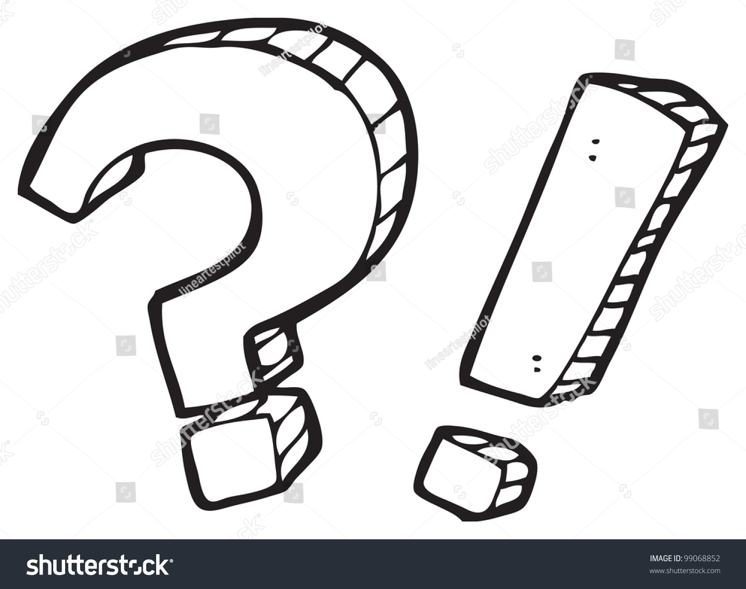 Art Line Questions : Cartoon question mark exclamation stock illustration