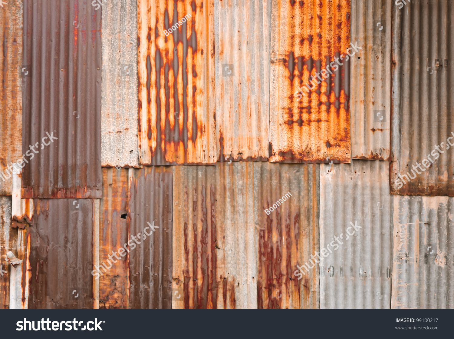 Rusty Corrugated Metal Wall Stock Photo 99100217