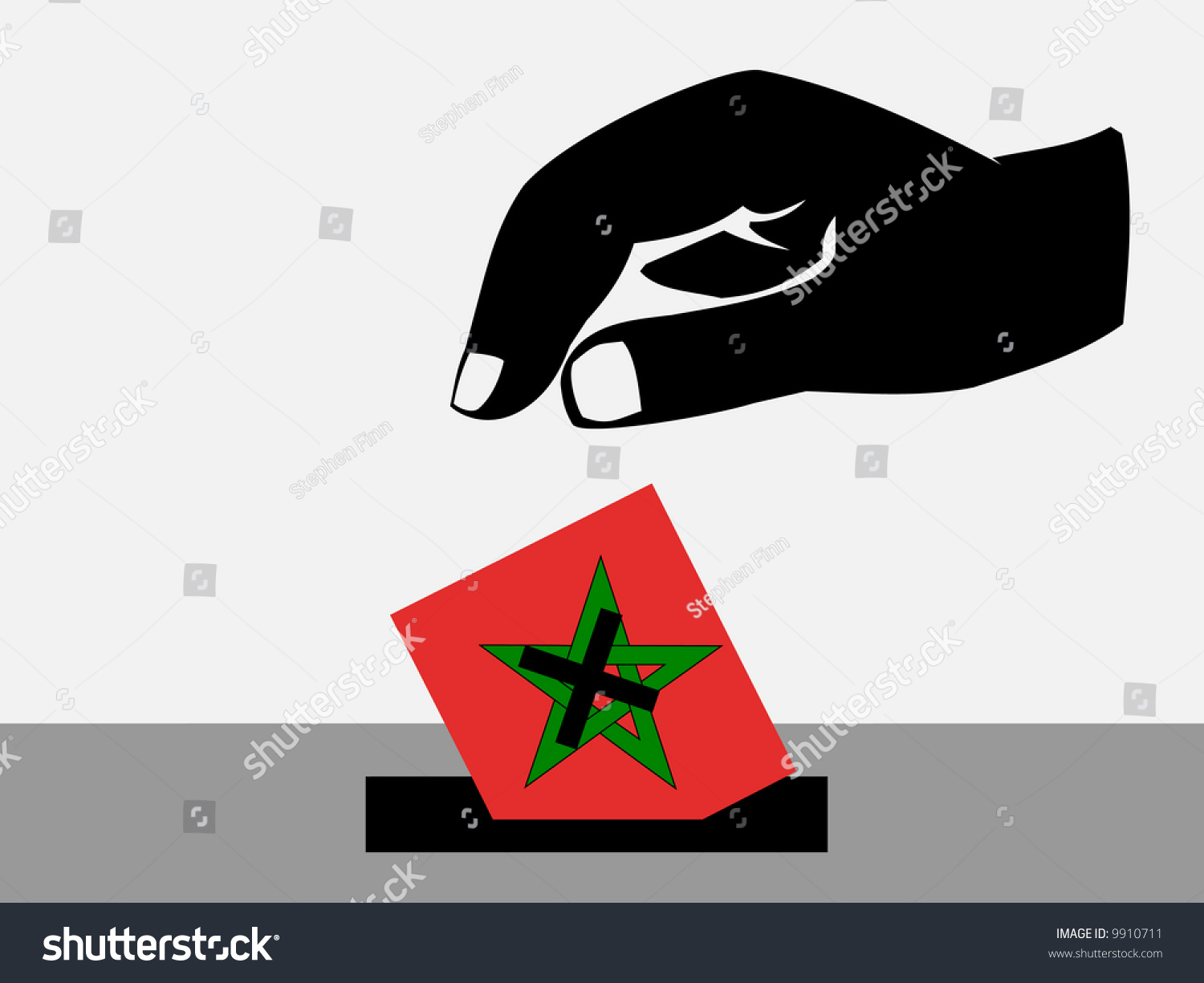 Hand Voting Ballot Paper Moroccan Election Stock Illustration