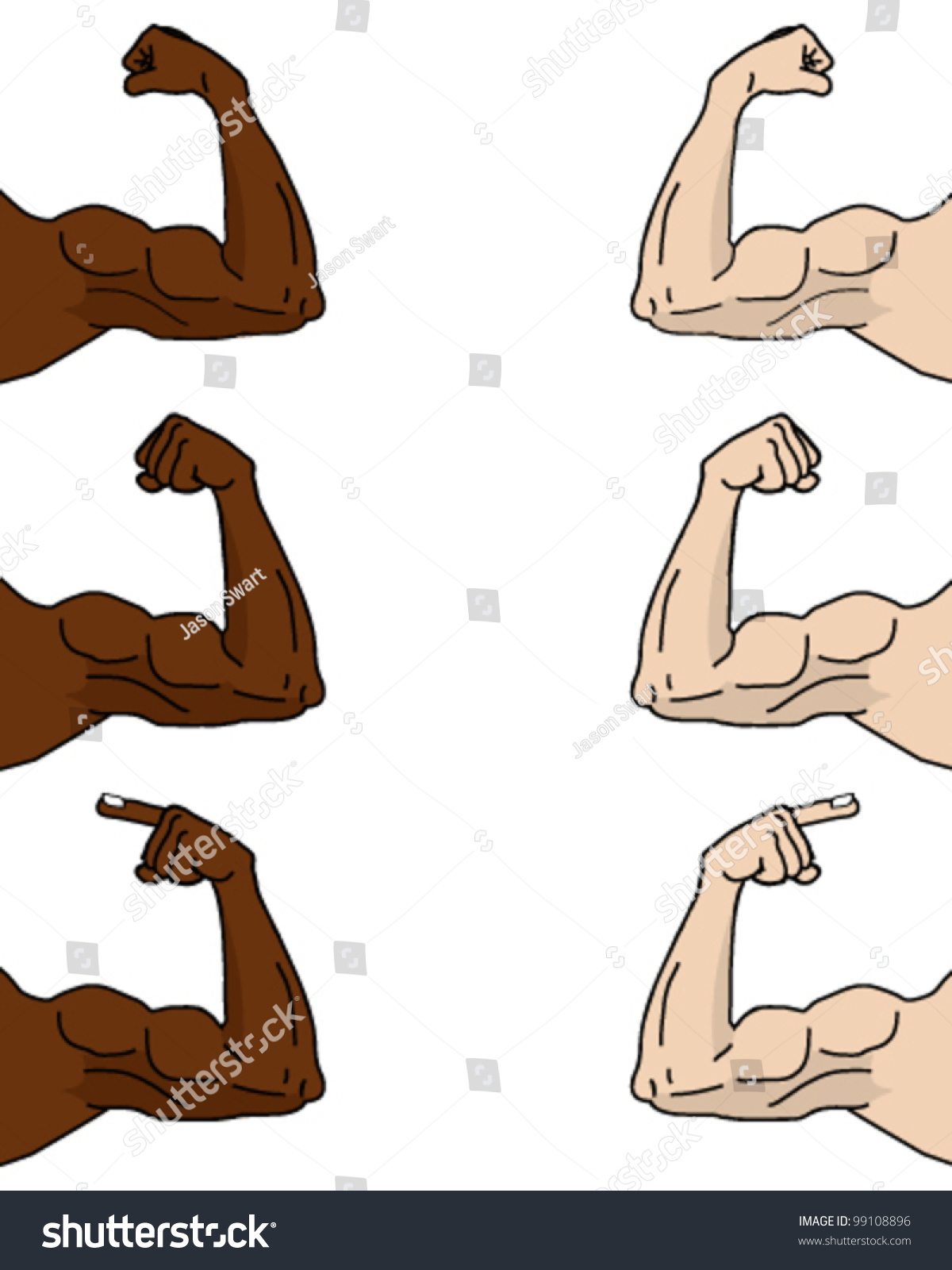 muscular cartoon arms different positions stock vector