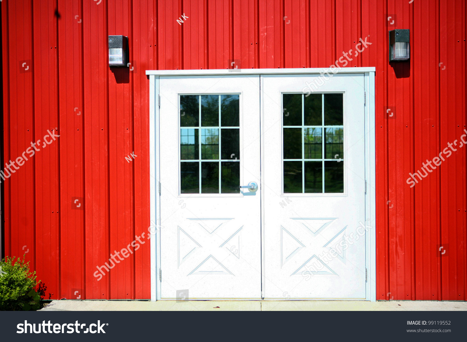 red and white barn doors. Bright Red Farmhouse Facade With White Barn Doors And 2