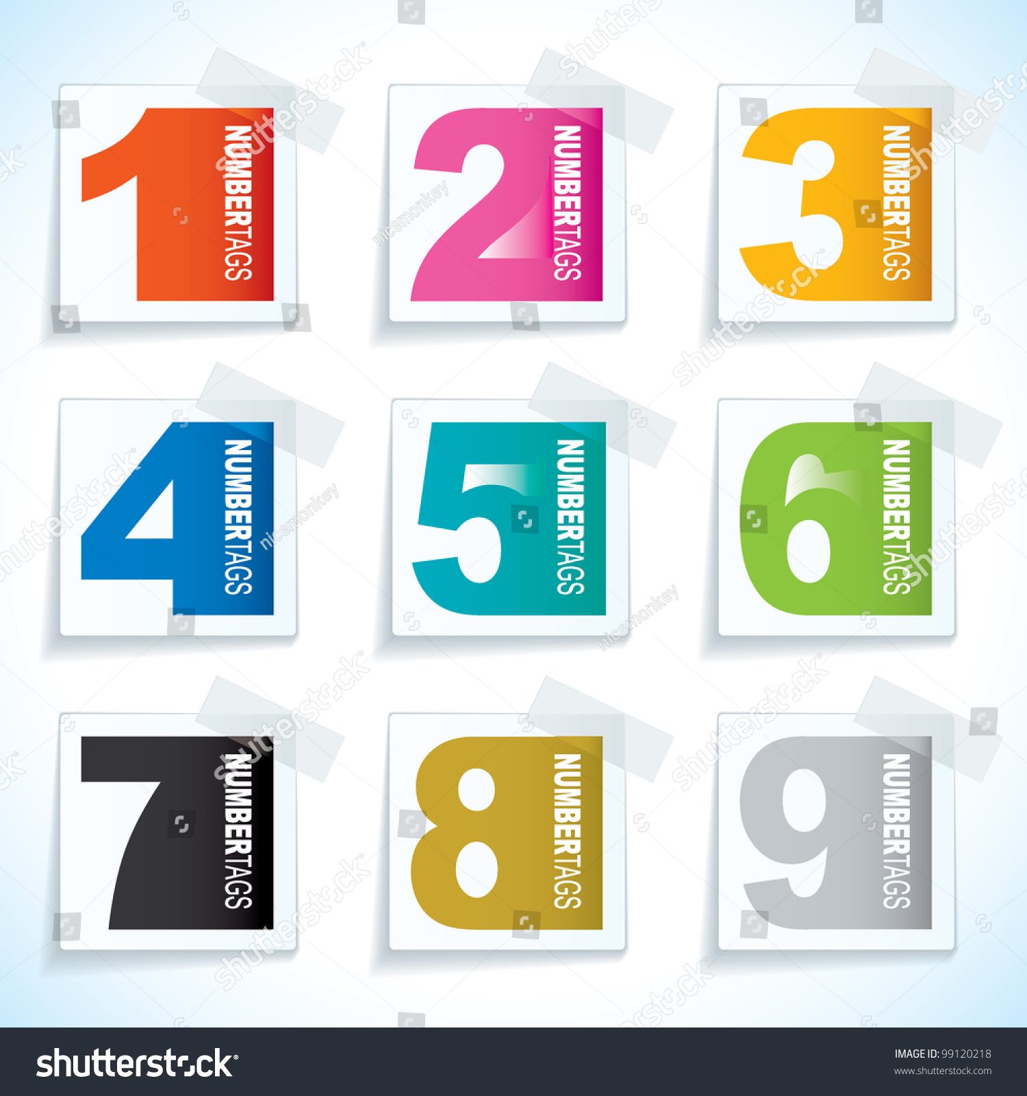 nine paper tag sticky tape number stock vector 99120218 shutterstock