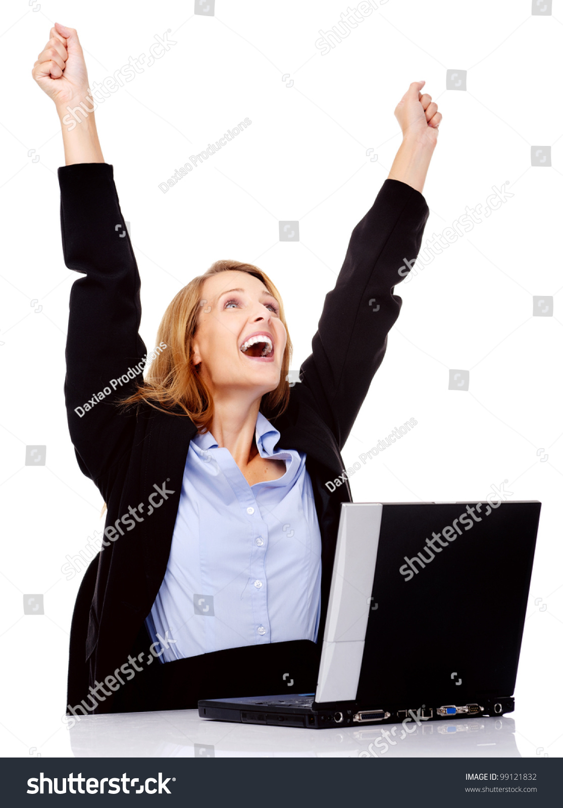 excited w celebrating promotion her job stock photo  excited w celebrating a promotion in her job