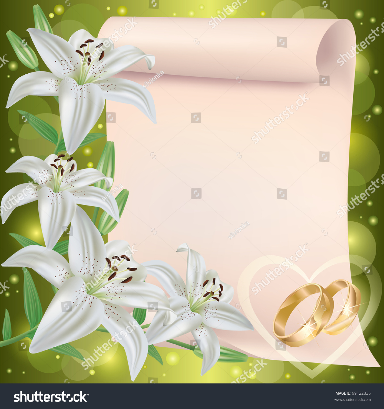 Invitation Greeting Card Lily Flowers Wedding Stock Vector Royalty