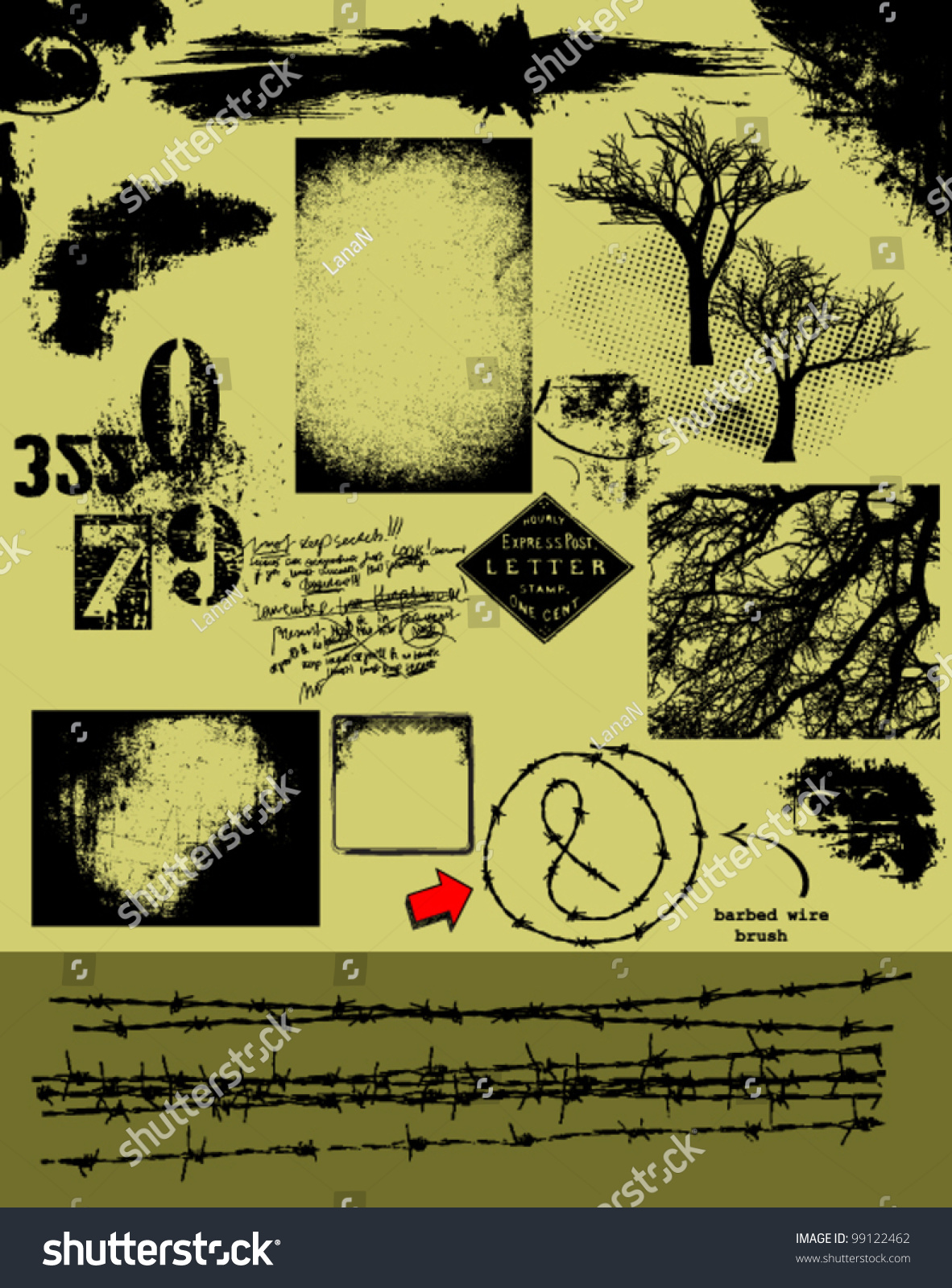 Barbed wire vector brush - Grunge Vector Pack_ Barbed Wire Brush Backgrounds Overlays Textures Trees Corners And Other Grunge Design Elements For Graphic Artists And Designers