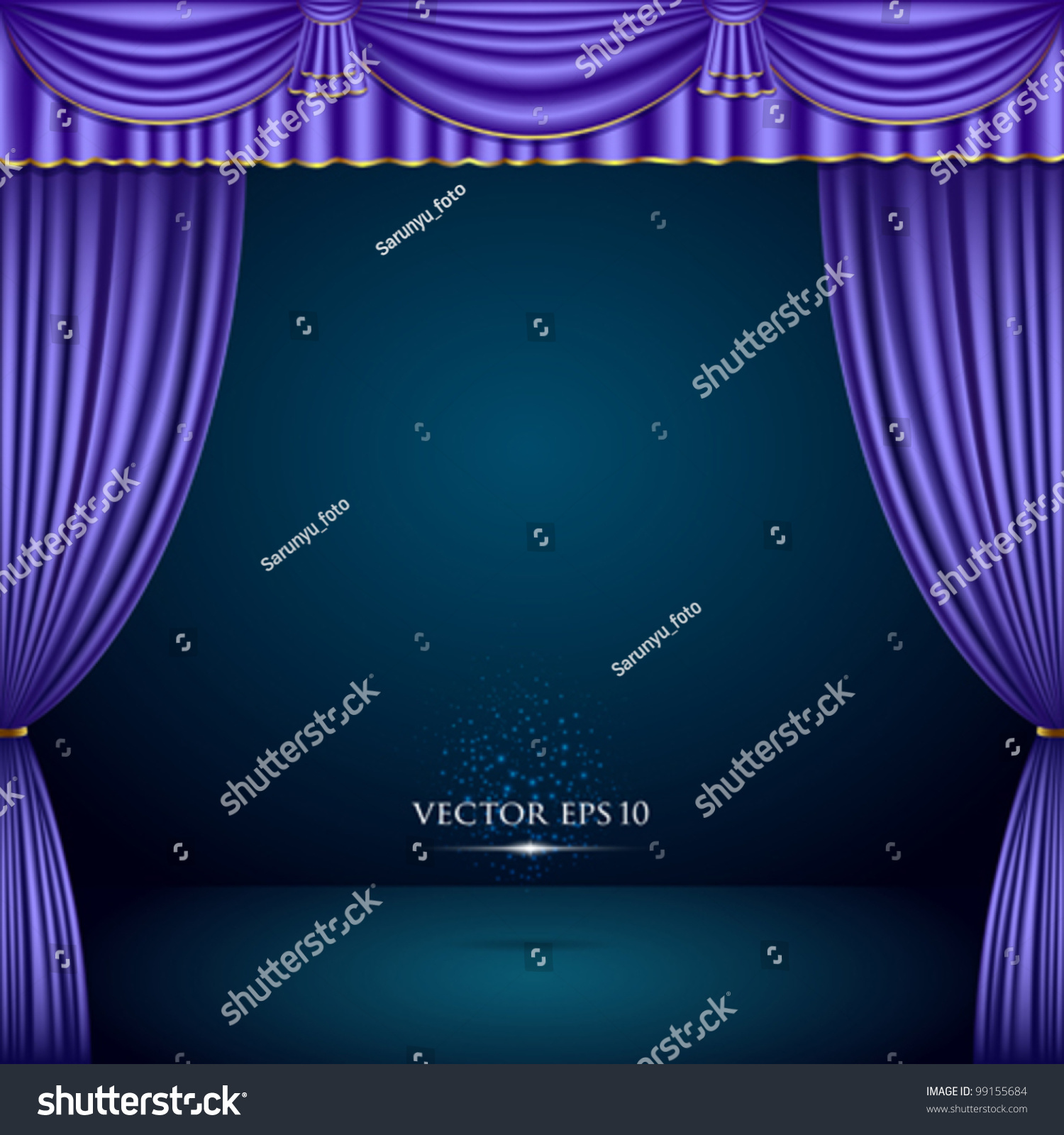 Bl blue stage curtains background - Purple And Gold Theater Curtain Classic Background Vector Illustration
