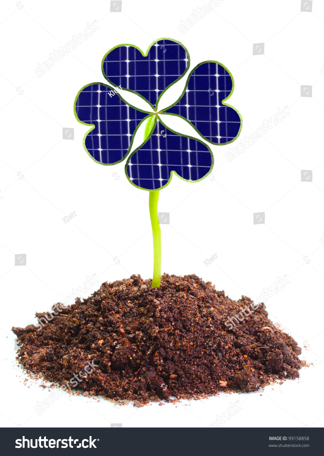 Solar energy panels from clover leaves Environmental protection concept