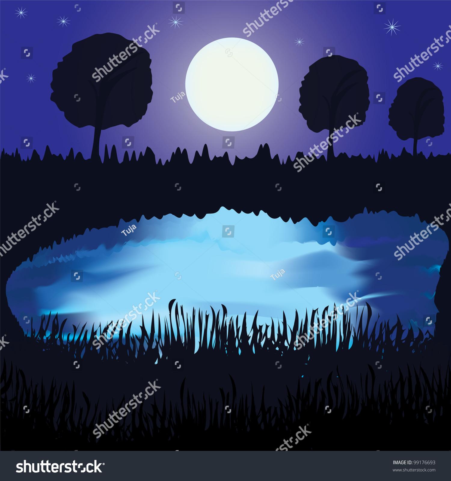 Full Moon Open Water Moonlight Reflection Vector Stock ...   Full Moon Reflecting Off Water