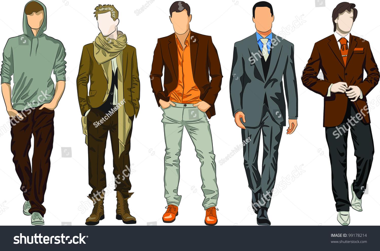 Fashion Men Stock Vector Illustration 99178214 : Shutterstock