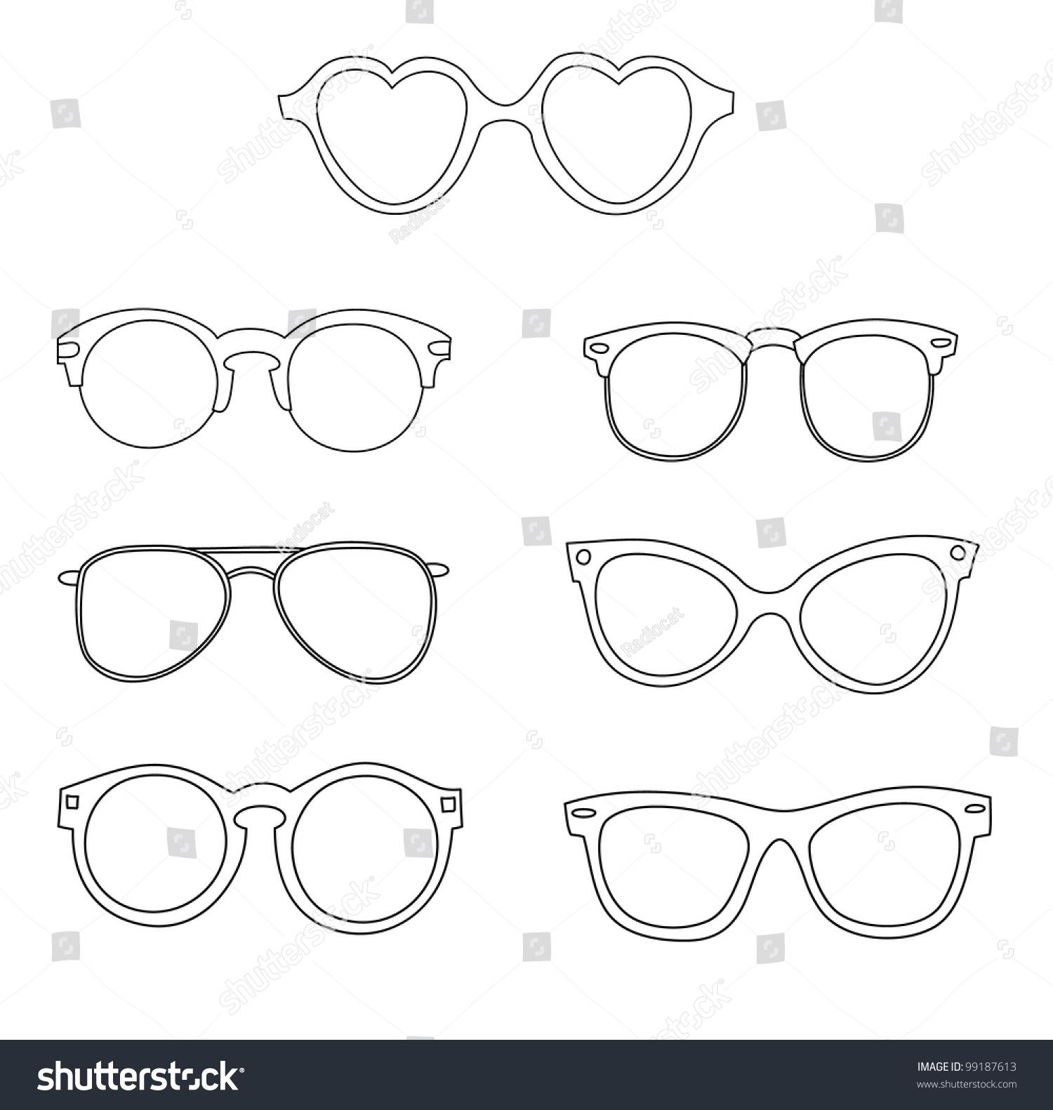 Set Old School Glasses Frames Stock Vector HD (Royalty Free ...